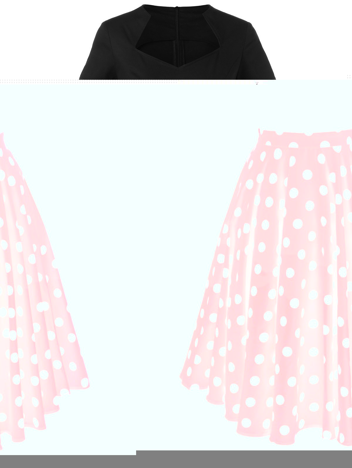 Polka Dot Two Tone DressWomen<br><br><br>Size: XL<br>Color: RED WITH BLACK