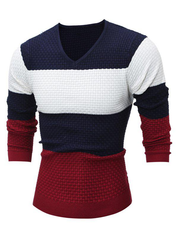 V Neck Color Block Textured Sweater color block sweater