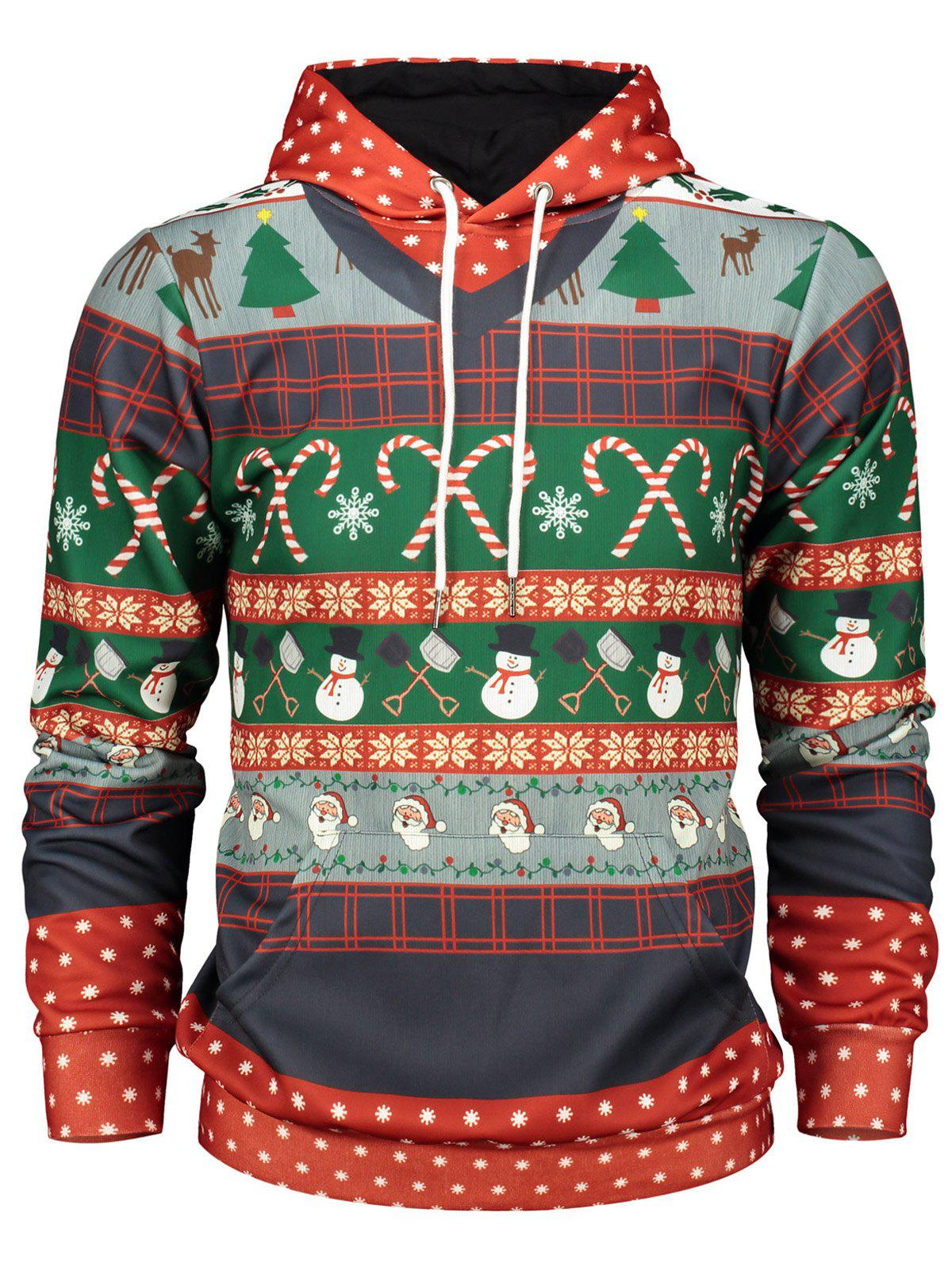 Christmas Tree and Snowflake Print Pullover Hoodie