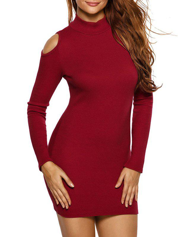 High Neck Cold Shoulder Ribbed Mini Jumper Dress green high neck cold shoulder jumper
