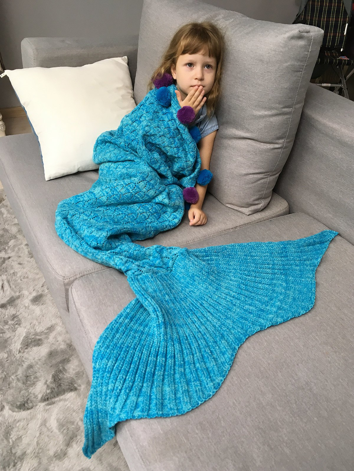 Pineapple Crochet Pom Ball Mermaid Blanket Throw For Kids