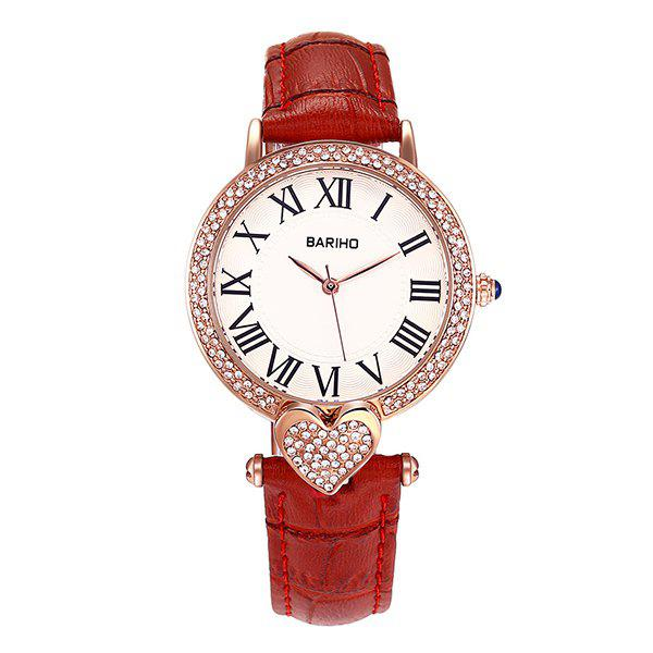 Heart Rhinestone Roman Numerals Watch - RED