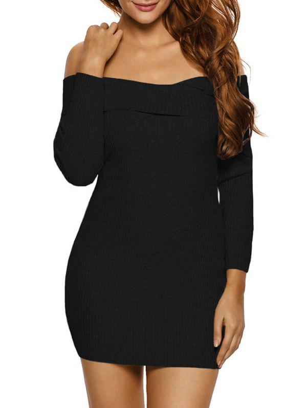 Ribbed Knit Off The Shoulder Long Sleeve Dress - BLACK L
