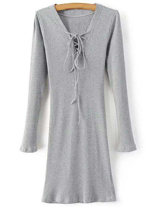 Long Sleeve Lace Up Mini Jumper Dress lace up back drawstring jumper