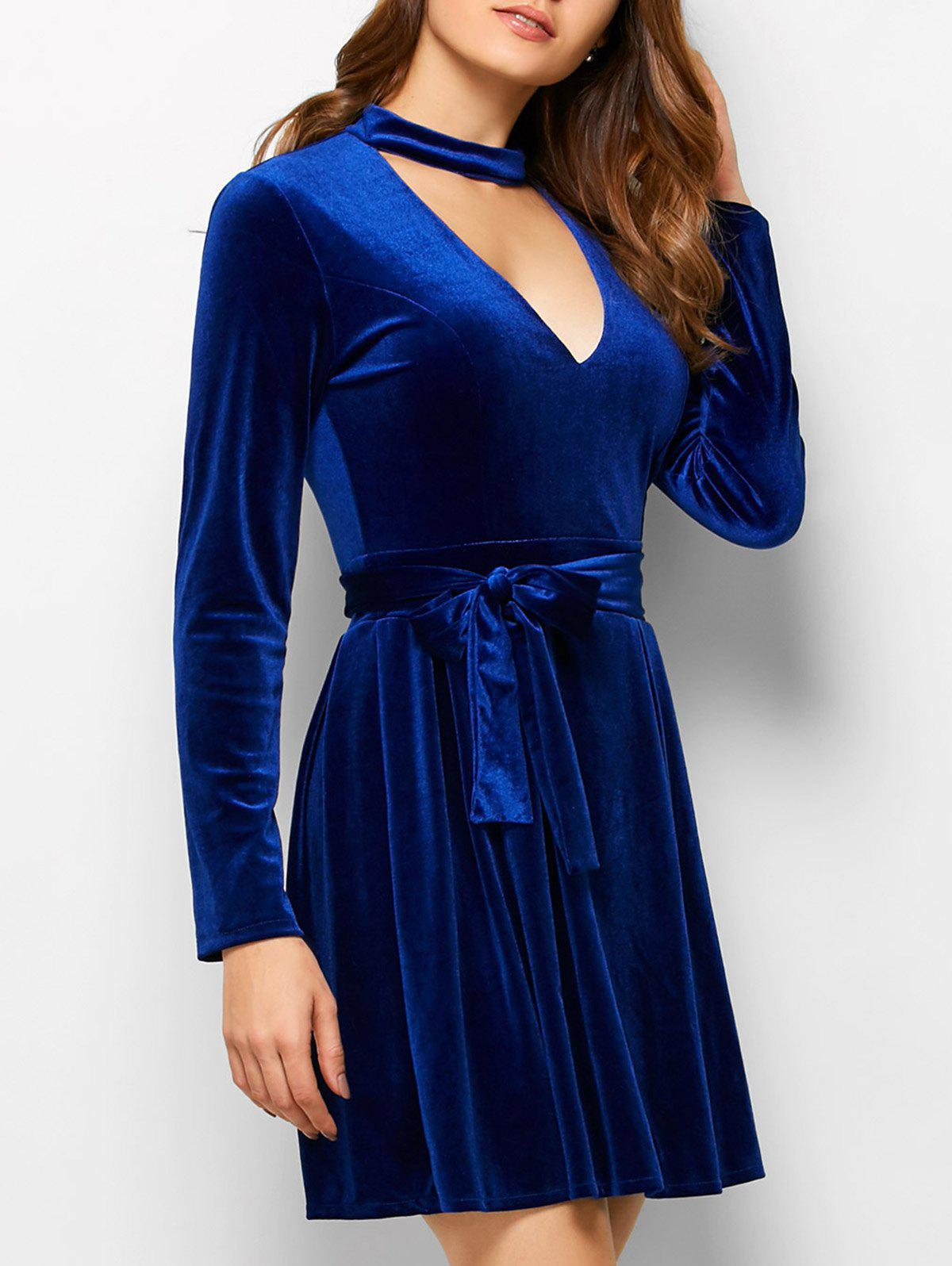 Choker Velvet Belted Mini Dress - BLUE M