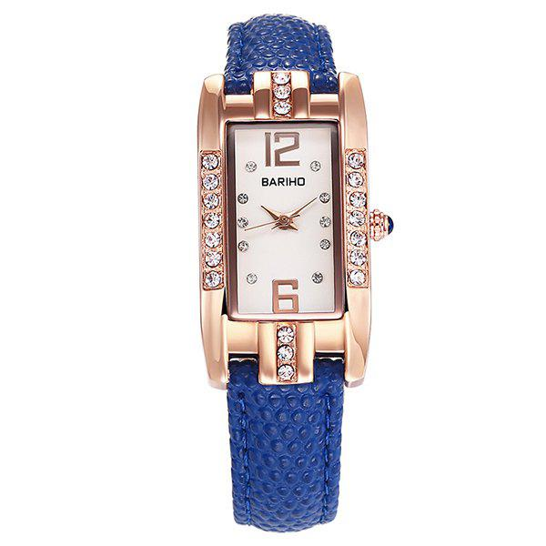 Geometric PU Leather Rhinestone Watch - BLUE