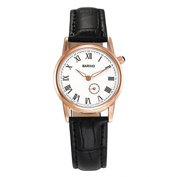 Vintage Faux Leather Roman Numerals Watch - WHITE