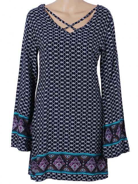 Long Sleeve Paisley Printed Boho Mini Dress - PURPLISH BLUE S