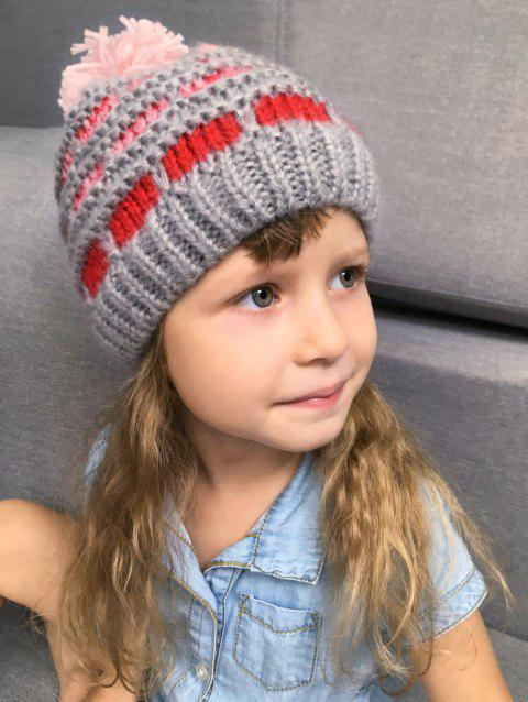 Chunky Rectangle Plaid Pom Hat For Kids - GRAY