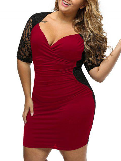 00915243fd9ef 2019 Lace Panel Bodycon Plus Size Night Out Dress In WINE RED 2XL ...