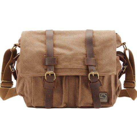 Canvas Multi Buckles Messenger Bag - EARTHY