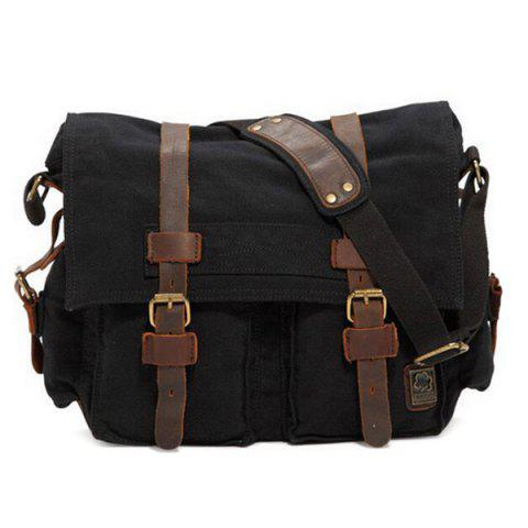 Canvas Multi Buckles Messenger Bag - BLACK