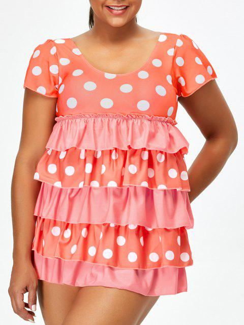 Polka Dot Plus Size Ruffles Skirted One Piece Swimsuit - WATERMELON RED 3XL