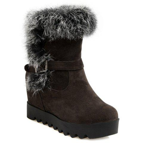 Faux Fur Buckle Strap Hidden Wedge Boots - DEEP BROWN 39