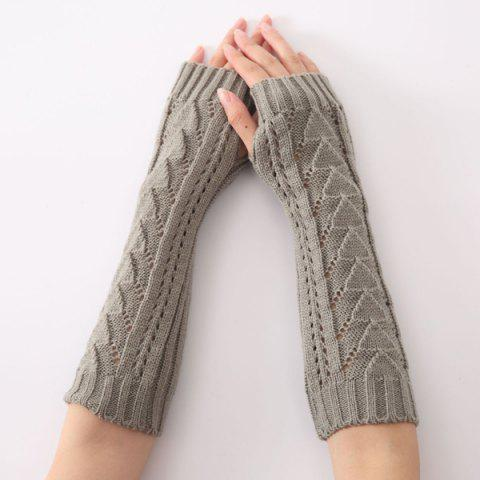 Hollow Out Crochet Knit Triangle Fingerless Arm Warmers - GRAY