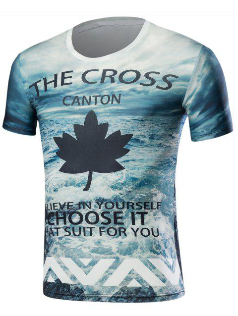 3D Sea and Maple Leaf Print Short Sleeve T-Shirt - COLORMIX M