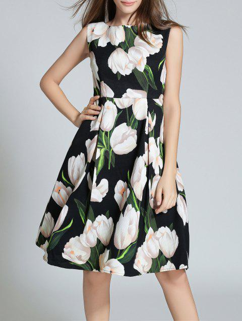 Sleeveless Floral Printed Fit and Flare Dress - BLACK S