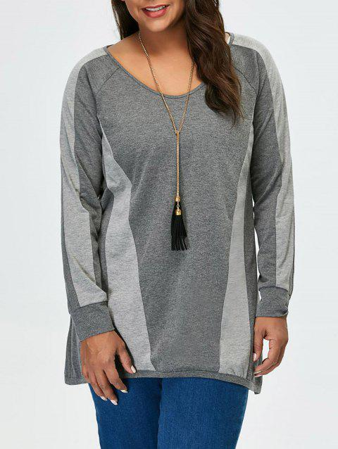 Plus Size Long Sleeves Color Block Tunic T-Shirt - GRAY 3XL