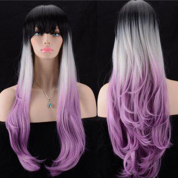 Slightly Curled Ultra Long Full Bang Color Mix Synthetic Wig