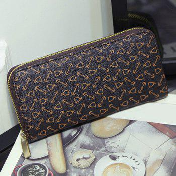 Printed Geometric Pattern Zip Around Wallet