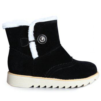 Slip On Faux Fur Flat Suede Snow Boots