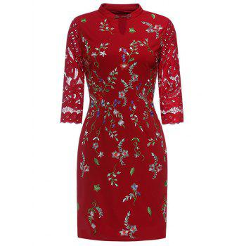 Keyhole Floral Embroidered Fitted Dress RED