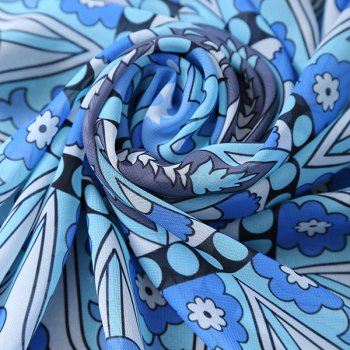 Bohemian Bikini Boho Swimwear Flower Totem Printed Chiffon Round Beach Throw Scarf - DEEP BLUE