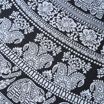 Ethnic Style Bikini Boho Flower Elephant Print Chiffon Round Beach Throw Scarf - WHITE/BLACK