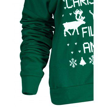 Stylish Letter and Snowflake Print Pullover Christmas Sweatshirt For Women - GREEN GREEN