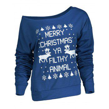 Stylish Letter and Snowflake Print Pullover Christmas Sweatshirt For Women - BLUE BLUE