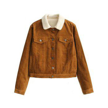 Button Up Fleece Lined Corduroy Jacket