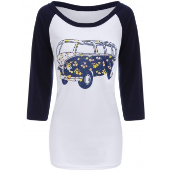 Bus Print Raglan Sleeves T-Shirt