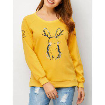 Long Sleeve Animal Pattern Sweatshirt
