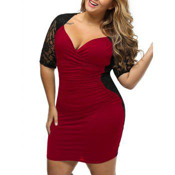 Lace Panel Bodycon Plus Size Night Out Dress
