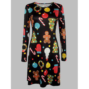 Plus Size Long Sleeves Christmas Graphic Dress