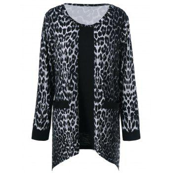 Plus Size Pockets Design Leopard T-Shirt - LEOPARD LEOPARD