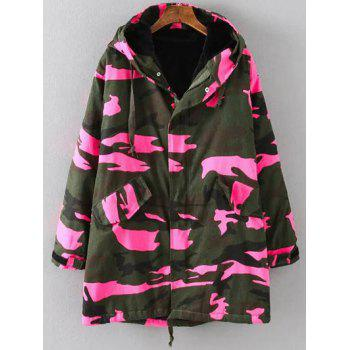Hooded Camouflage Padded Utility Long Jacket