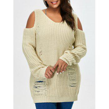 Plus Size Cold Shoulder Ripped Sweater