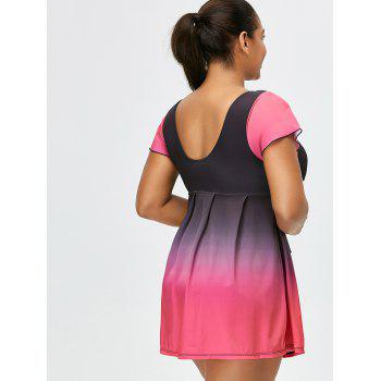 Ombre Backless Plus Size Skirted Swimsuit - BLACK/PINK 6XL