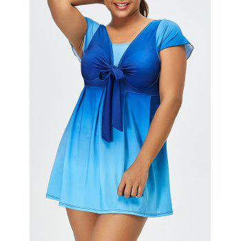 Ombre Backless Plus Size Skirted Swimsuit