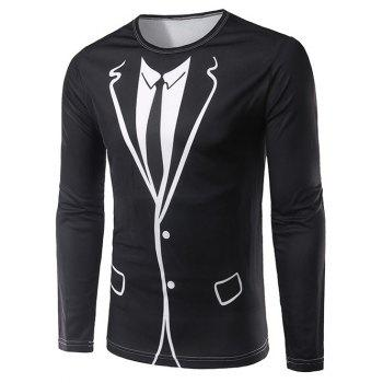 Crew Neck Long Sleeve 3D Counterfeit Suit Print T-Shirt