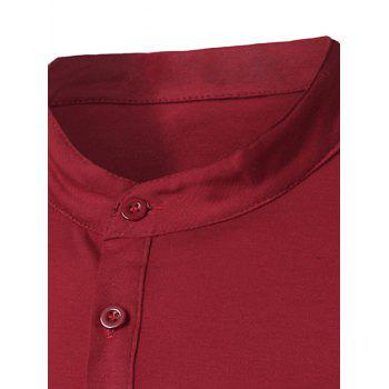 Fashion Pocket and Button Design Stand Collar Long Sleeve Slimming Men's Polyester Polo Shirt - L L