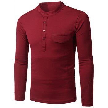 Fashion Pocket and Button Design Stand Collar Long Sleeve Slimming Men's Polyester Polo Shirt - RED 2XL