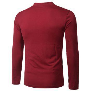 Fashion Pocket and Button Design Stand Collar Long Sleeve Slimming Men's Polyester Polo Shirt - 2XL 2XL