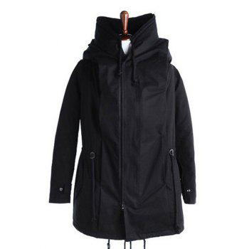 Back Slit Drawstring Cotton Padded Parka Coat