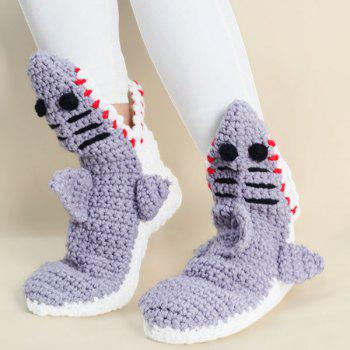Knitted Shark Slipper Socks - LIGHT GRAY LIGHT GRAY