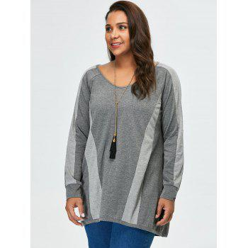 Plus Size Long Sleeves Color Block Tunic T-Shirt - GRAY GRAY
