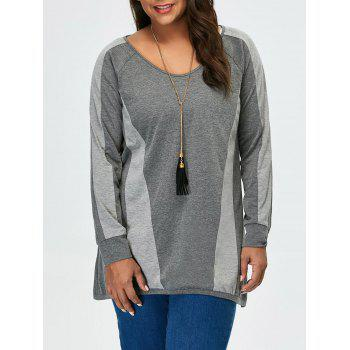 Plus Size Long Sleeves Color Block Tunic T-Shirt