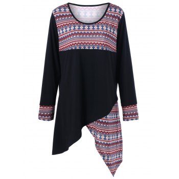Tribal Print Plus Size Asymmetric T-Shirt