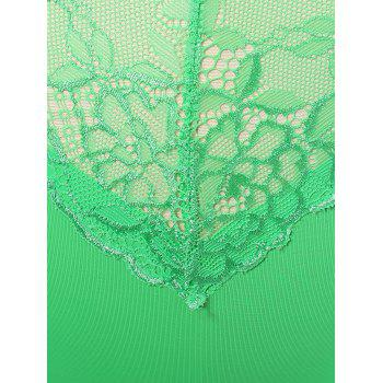 Lace Insert High Waist Briefs - GREEN GREEN